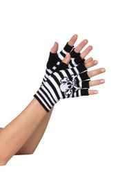 Черно-белые перчатки без пальцев