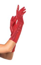 Красные перчатки с пайетками