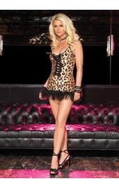 Леопардовое мини-платье