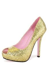 Золотые блестящие туфли