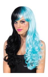 Черно-голубой длинный парик