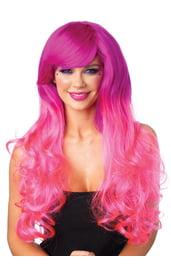 Длинный парик Фуксия-розовый