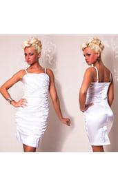 Атласное платье со складками белое