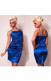 Атласное платье со складками синее
