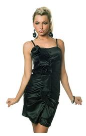 Платье с цветком темно-зеленое