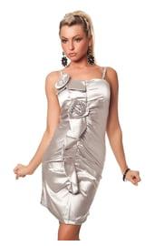 Платье с цветами серебряное