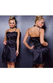 Темно-синее платье с блестящим поясом