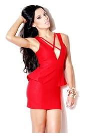 Платье красное с баской