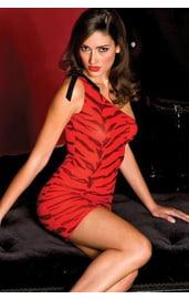 Мини-платье красный тигр