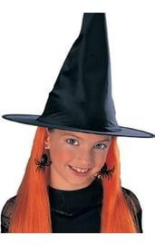 Детская шляпа ведьмы с оранжевыми волосами