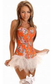 Оранжевый корсет с цветочным принтом