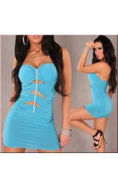Голубое платье с разрезами