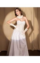 Белый кружевной свадебный корсет