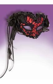 Красная ажурная венецианская маска
