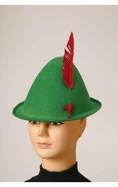 Зеленая альпийская шляпа с пером