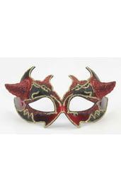 Венецианская красно-черная маска с рожками