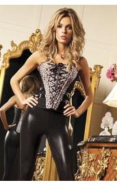 Черный корсет с леопардовыми вставками
