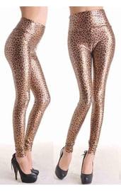 Блестящие леопардовые леггинсы