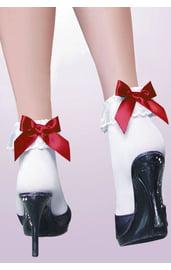 Белые носочки с красными бантиками