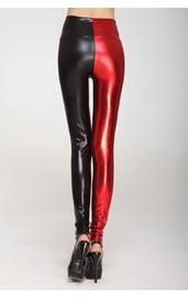 Блестящие черно-красные леггинсы
