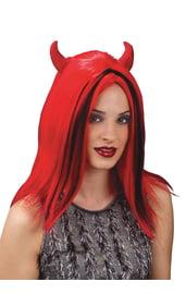 Парик дьяволицы с красными рожками