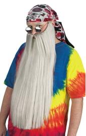 Длинная борода и усы серого цвета