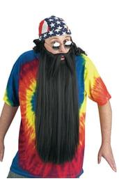 Длинная борода и усы черного цвета