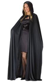 Черный плащ с капюшоном 173 см