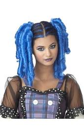 Синий парик с локонами