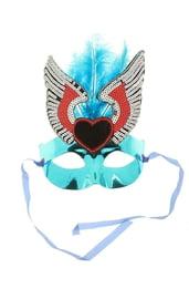 Маска голубая с перьями и сердцем