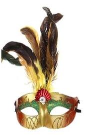 Красная маска с перьями