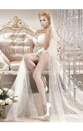 Белые колготки с цветочным узорам