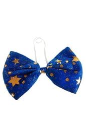 Бант гигант синий со звездами