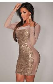 Сетчатое платье с золотистыми пайетками