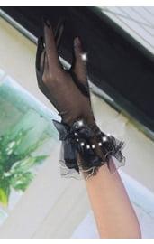 Перчатки черные с бантиком