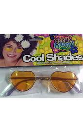 Хипповые очки-сердечки оранжевые
