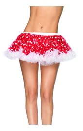 Красная мини-юбка в горошек