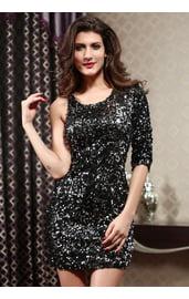 Черное клубное платье с пайетками