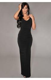 Черное длинное платье с вырезами