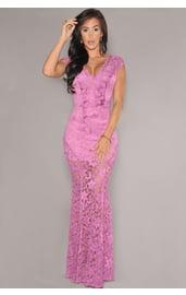 Кружевное розовое платье