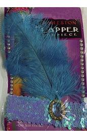Синяя повязка на голову с пером