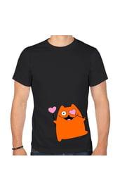 Мужская футболка Кот с сердечками