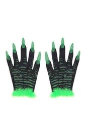 Перчатки с зелеными ногтями