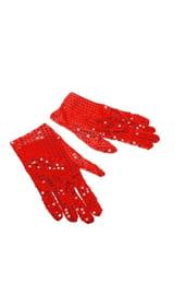 Красные блестящие перчатки