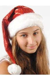 Новогодний красный подростковый колпак