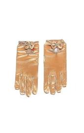 Золотистые перчатки с бантиком