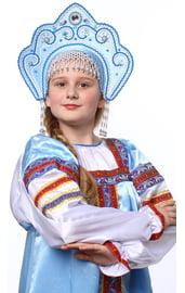 Голубой кокошник Фантазия в серебре