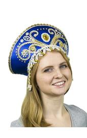 Синий кокошник Княжна с золотом