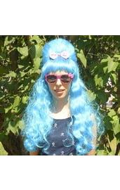 Голубой парик с прической Бабетта