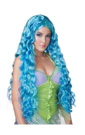 Длинный голубой парик с локонами